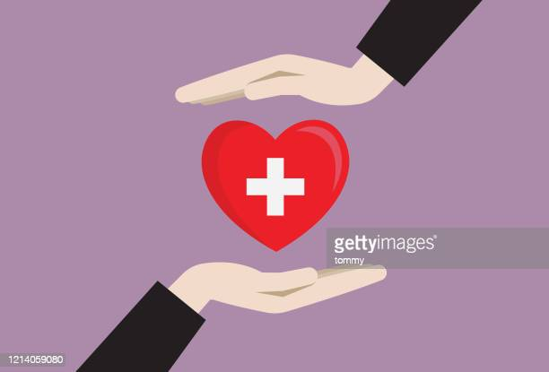 献血シンボルを持つ両手 - 赤十字社点のイラスト素材/クリップアート素材/マンガ素材/アイコン素材