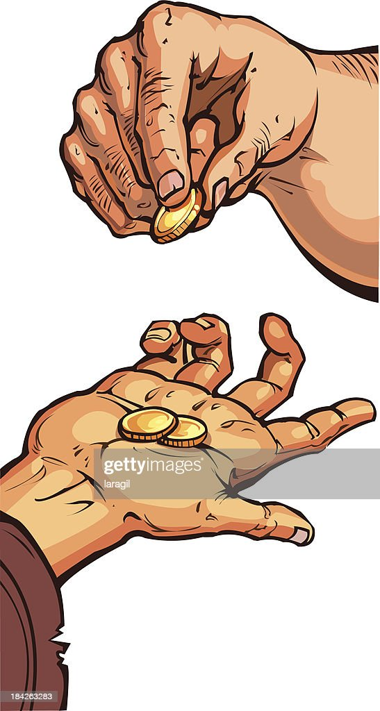 two hands with coins