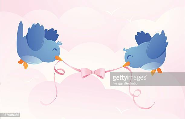 Two Happy Birds with Ribbon