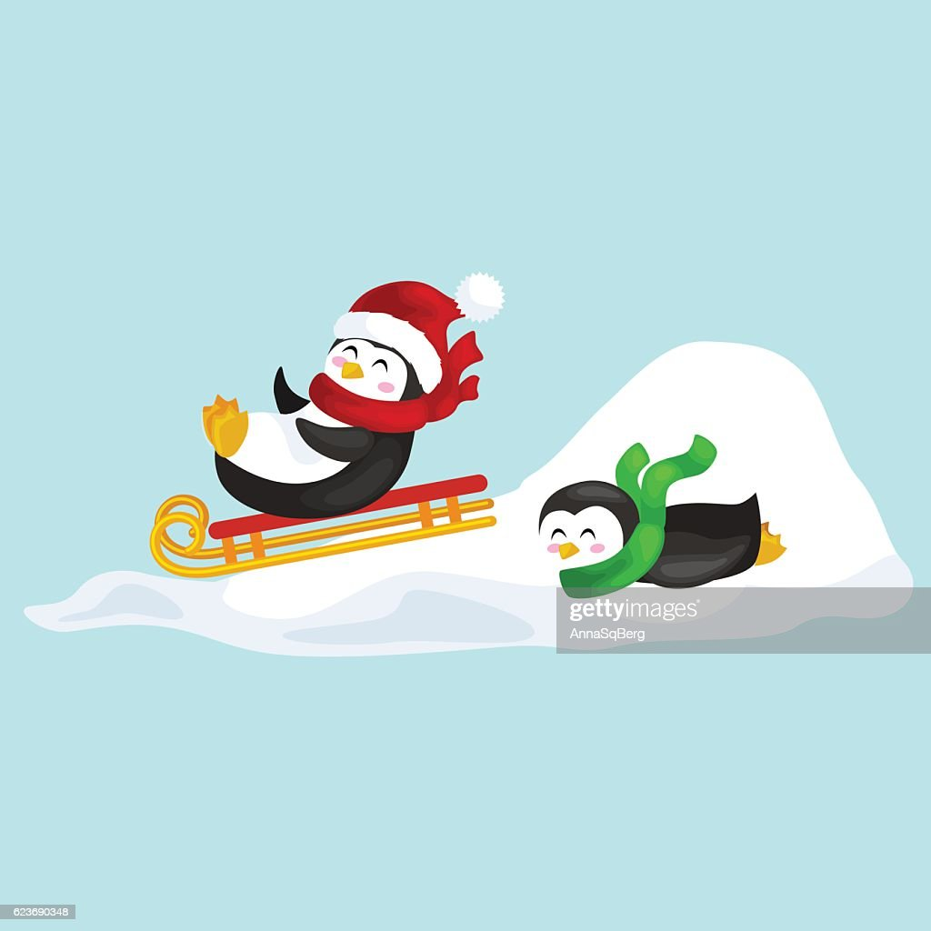 two happy cute Christmas penguin in hat and scarf sledding
