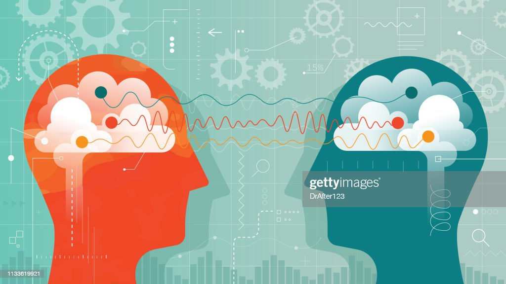 Two Heads Connected With Different Brain Waves : stock illustration