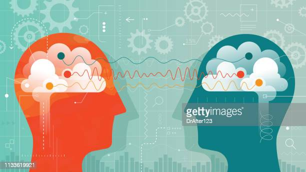 two heads connected with different brain waves - brain stock illustrations