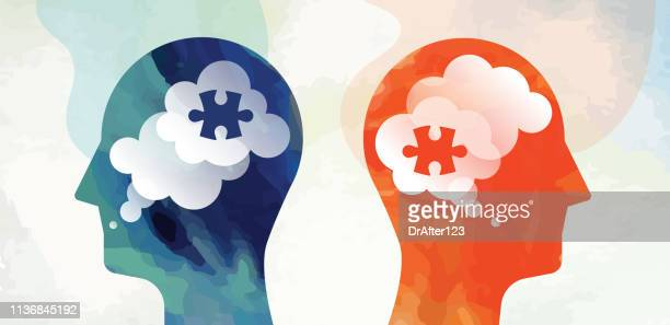 two heads puzzle communication problem concept - contrasts stock illustrations