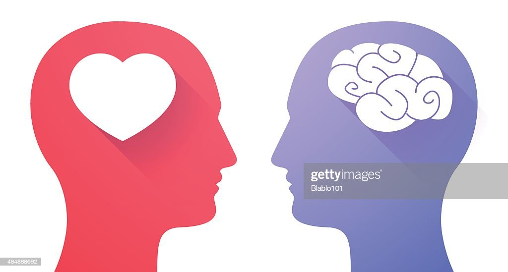 Two heads with a heart and a brain