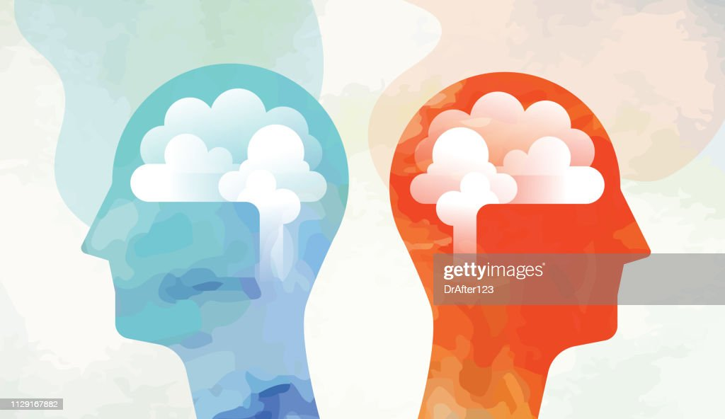 Two Heads With Brain Looking Opposite Side : stock illustration