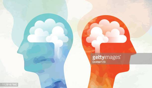 two heads with brain looking opposite side - brain stock illustrations