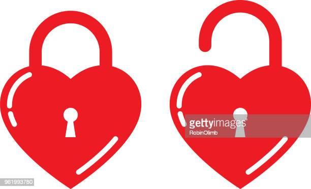 two heart locks - lock stock illustrations