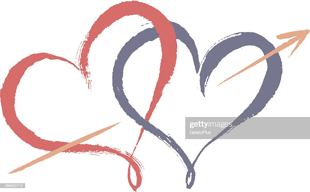 Clip Art Line Of Hearts : Two hearts connected vector art getty images