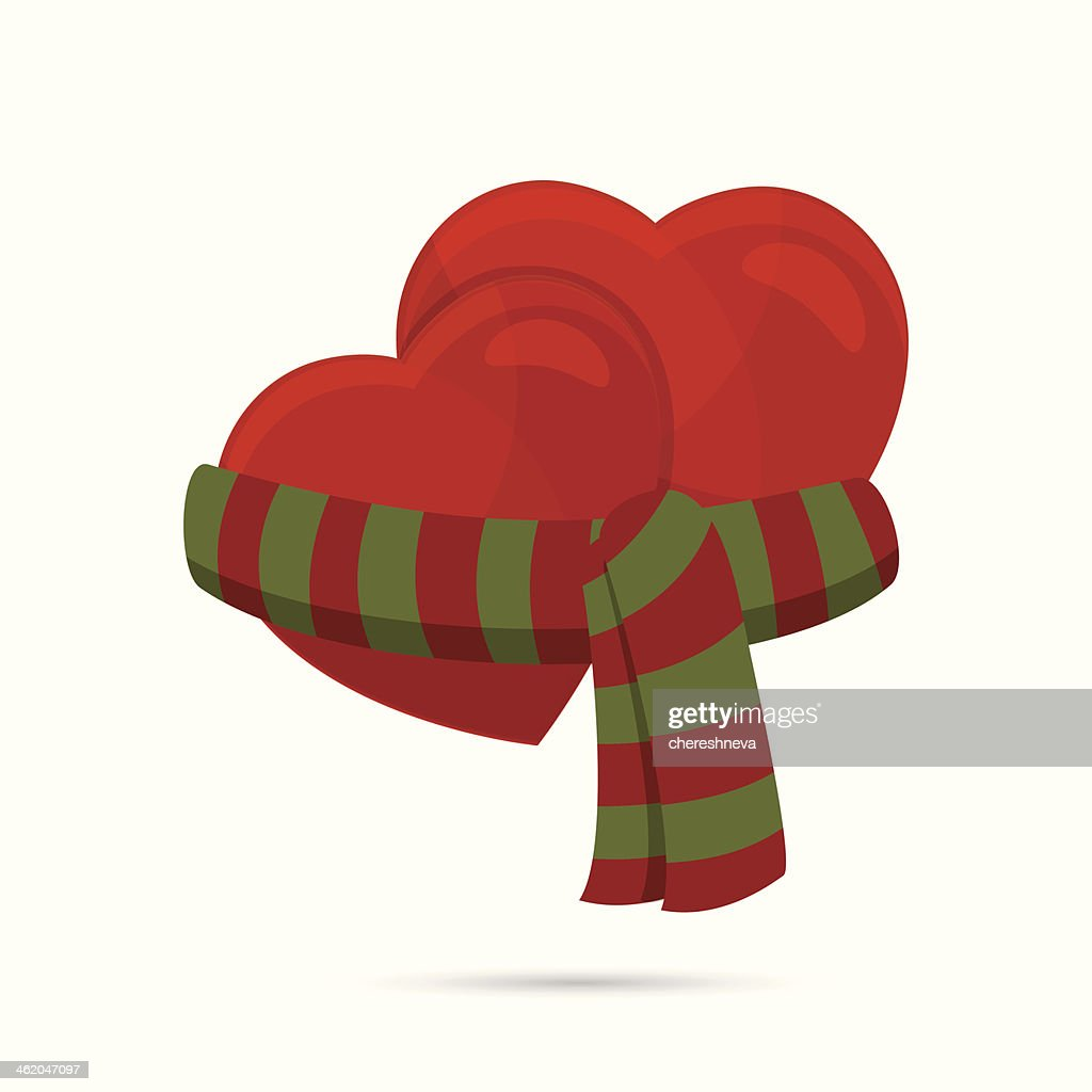 two hearts wrapped up with a scarf