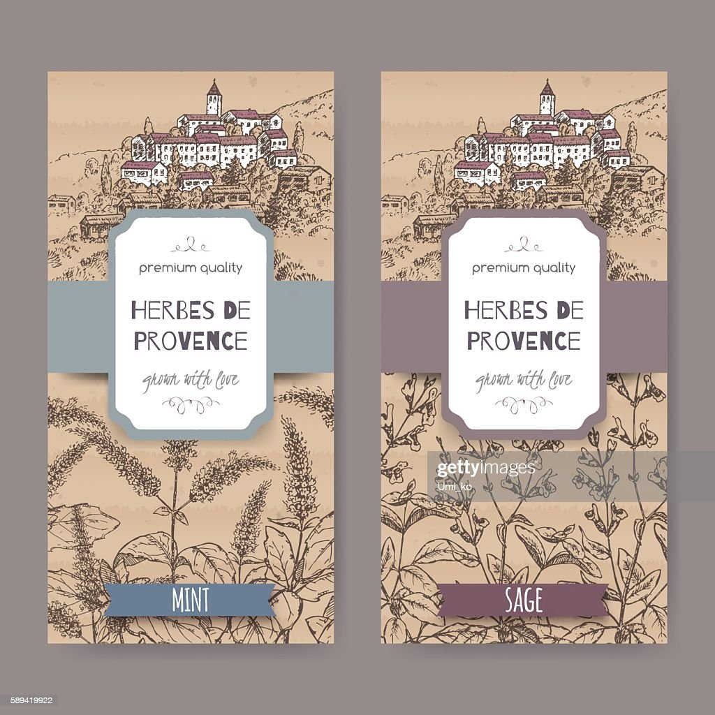 Two Herbes de Provence labels with town, mint, sage sketch.