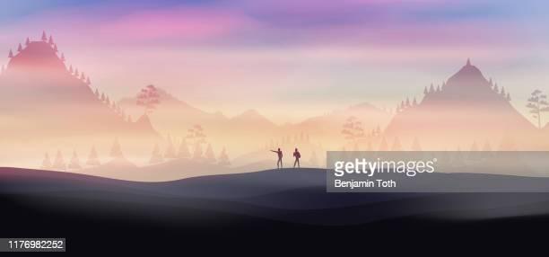 illustrations, cliparts, dessins animés et icônes de deux randonneurs sur un sentier avec la forêt de pin à l'arrière-plan - afrique paysage