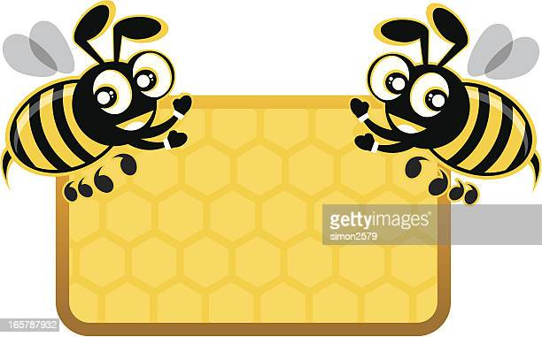 two honey bees carrying banner - bumblebee stock illustrations, clip art, cartoons, & icons