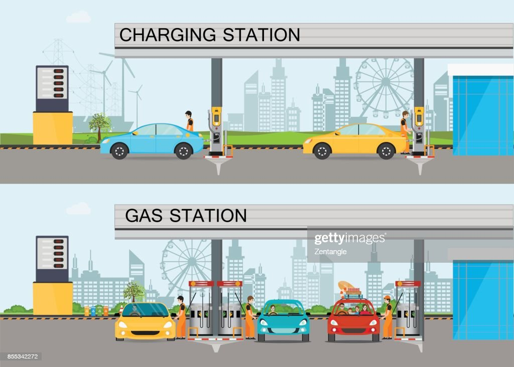 Two horizontal banners with charging station and Gasoline and oil station.