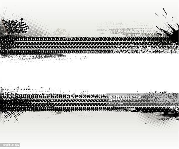 two horizontal tire texture banners - tire marks stock illustrations, clip art, cartoons, & icons