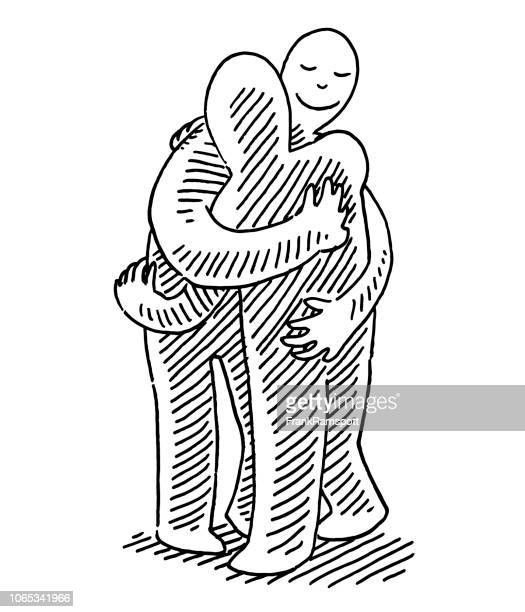 Two Human Figures Hugging Each Other Drawing