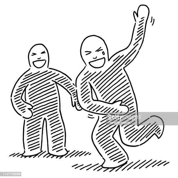 Zwei menschliche Figuren roaring Lachszeichnung