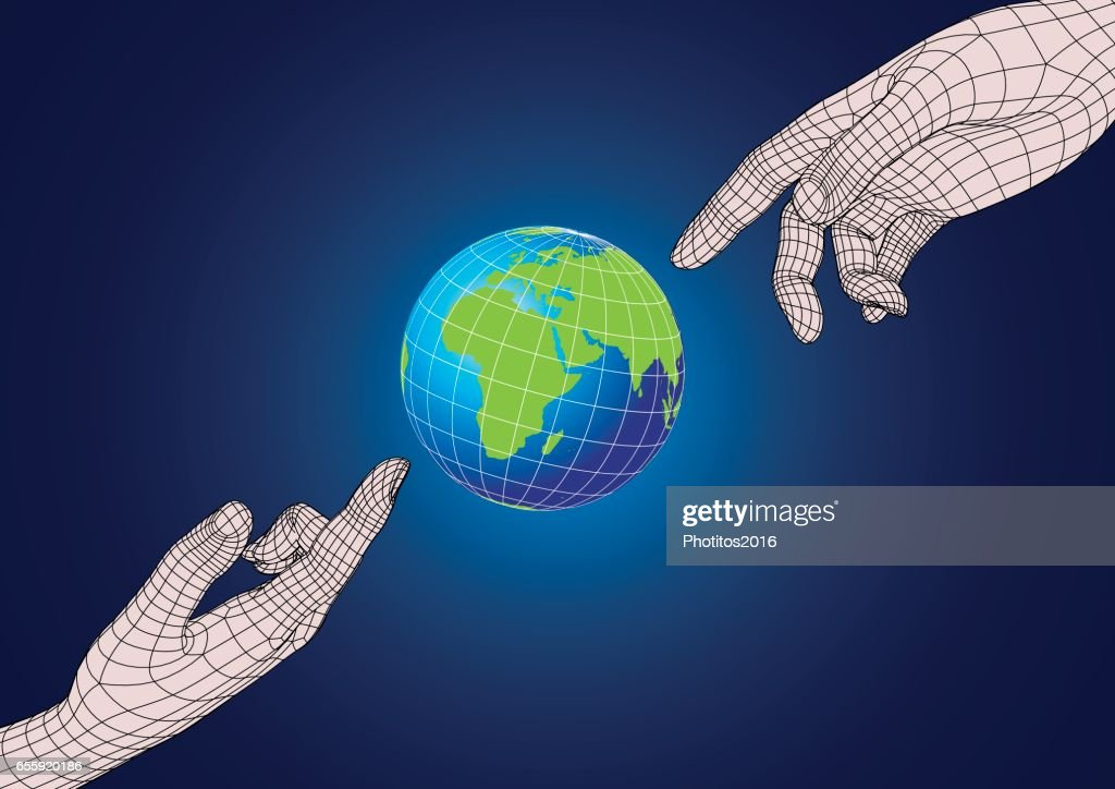 Two human hands pointing to planet earth
