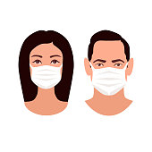 Two human heads in medicine masks - protection in prevention for coronavirus. Man and Woman young faces isolated on white background. European male and female user icons. Stock vector illustration