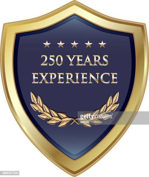 two hundred fifty years experience gold shield - 25 29 years stock illustrations