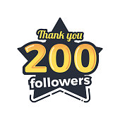 Two hundred followers goal badge. Isolated vector thank you design