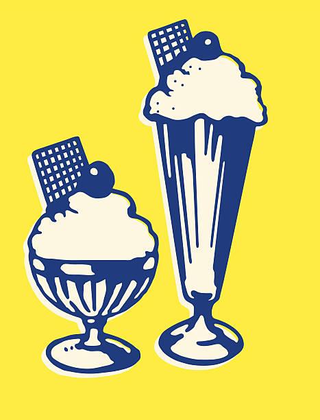 two ice cream sundaes - ice cream stock illustrations