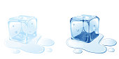 Two ice cubes melting on white background