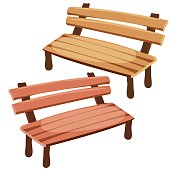 Two isolated wooden benches for decoration