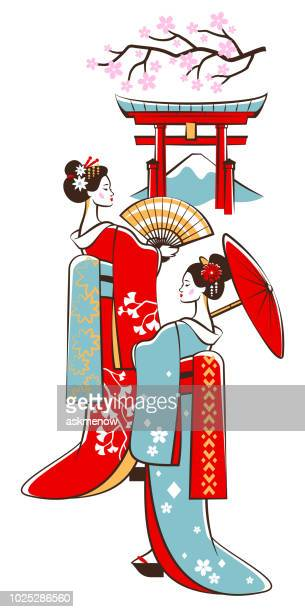 two japanese geishas - mt. fuji stock illustrations, clip art, cartoons, & icons