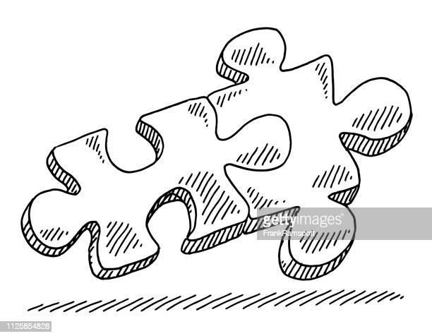 Zwei Puzzle-Stücke-Verbindung Symbol Zeichnung