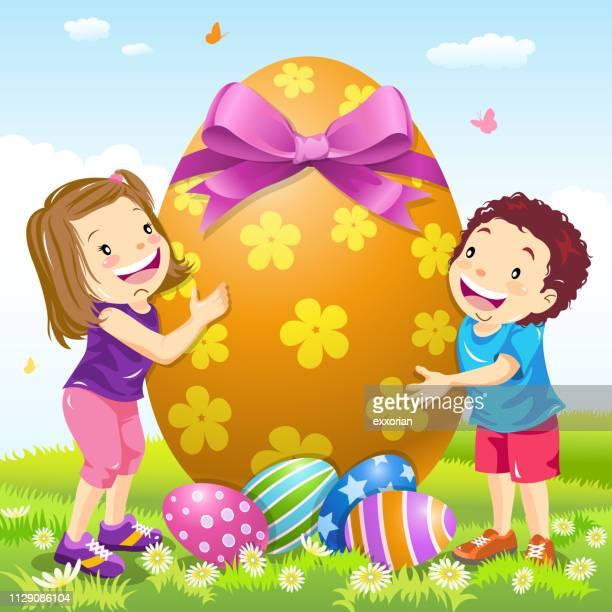 two kids embracing a big easter egg - easter egg hunt stock illustrations, clip art, cartoons, & icons