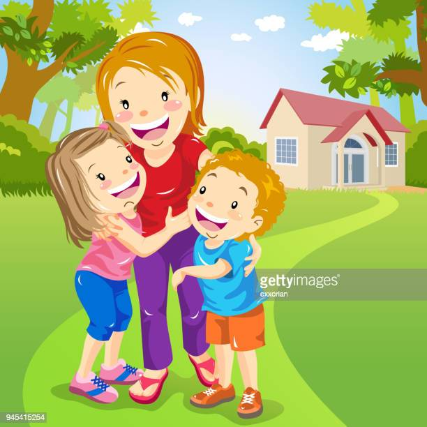 two kids embracing mother - kids hugging mom cartoon stock illustrations