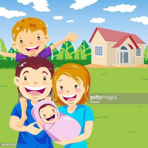 two kids family - piggyback stock illustrations, clip art, cartoons, & icons