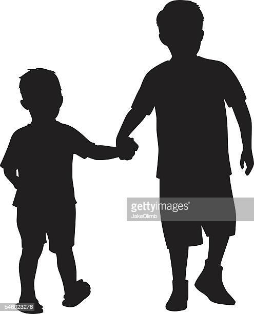 Two Kids Holding Hands Silhouette