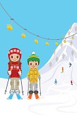 Two kids in ski slope