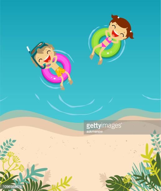 illustrations, cliparts, dessins animés et icônes de deux enfants dans la mer - matelas pneumatique