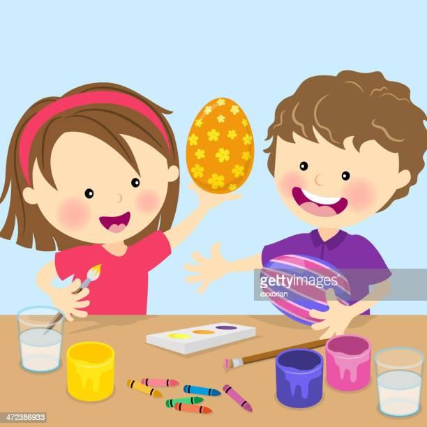 ilustraciones, imágenes clip art, dibujos animados e iconos de stock de dos niños pintando huevos de pascuas - huevo etapa de animal