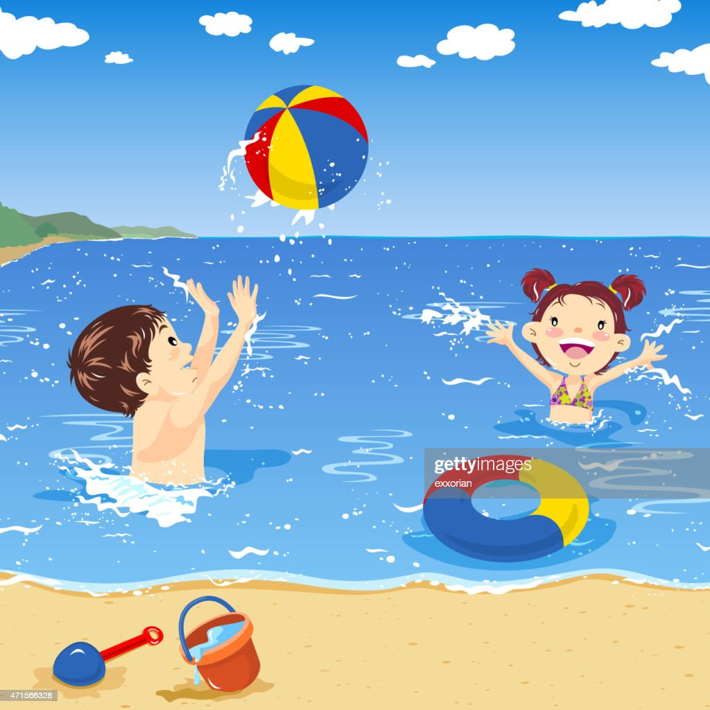 Two Kids Playing Beach Ball On The Seaside Vector Art