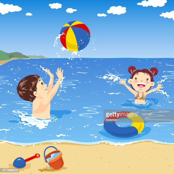 two kids playing beach ball on the seaside - beach holiday stock illustrations, clip art, cartoons, & icons