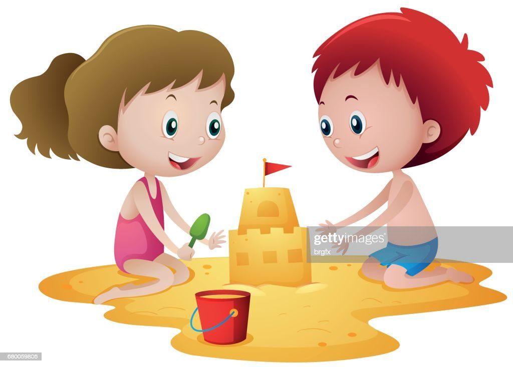 Two kids playing with sandcastle