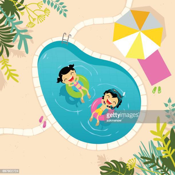 two kids relaxing in the swimming pool - leisure activity stock illustrations