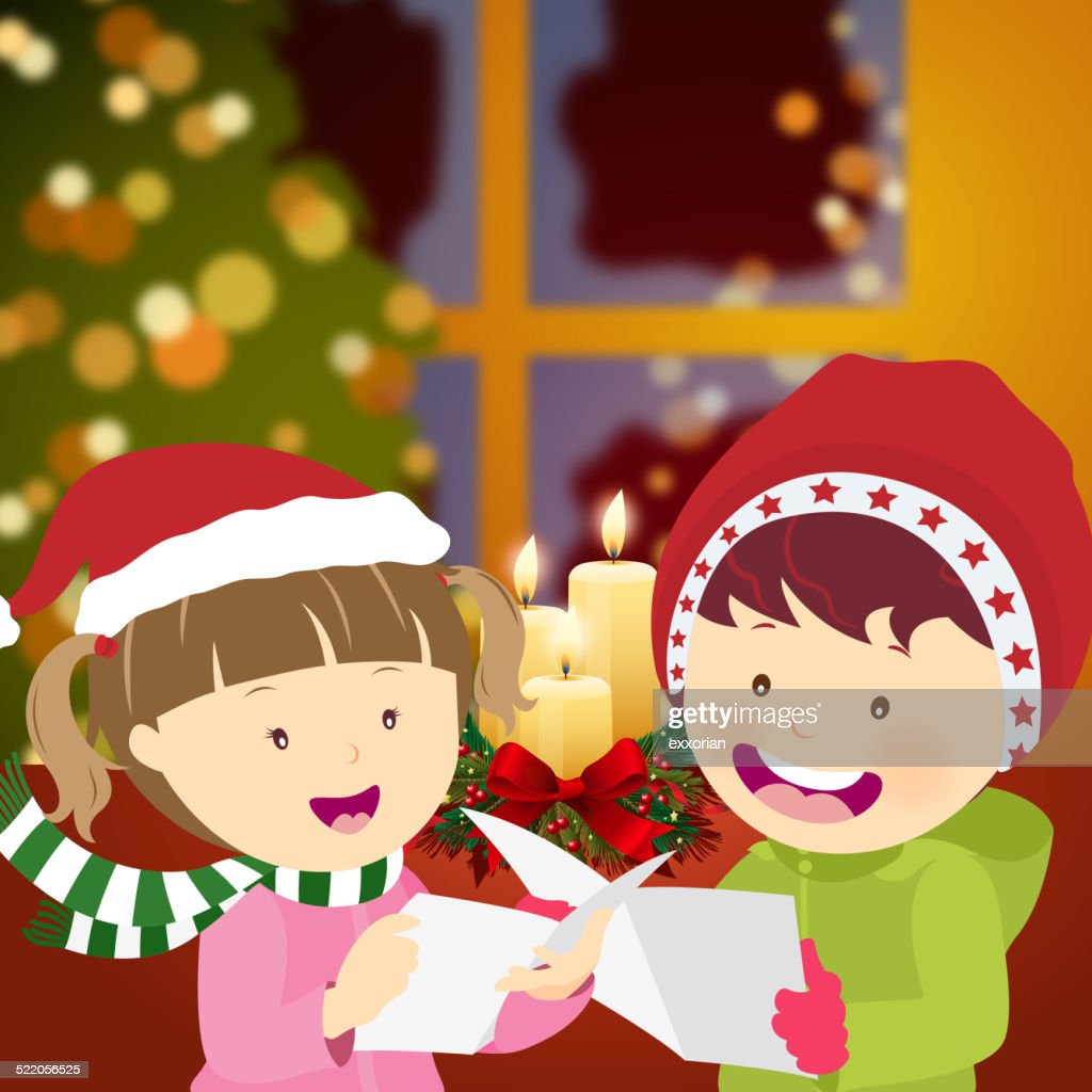 Two Kids Singing Christmas Song