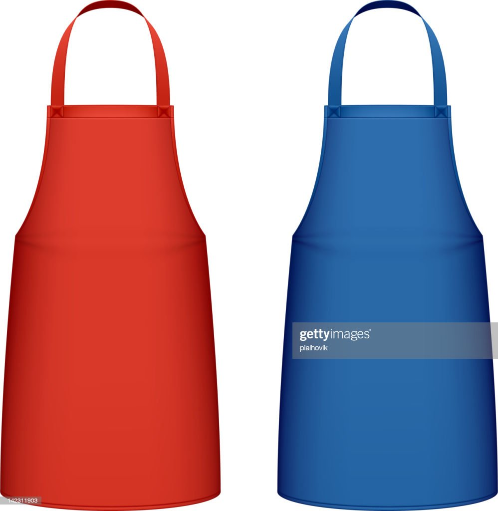 Two kitchen aprons one red and one blue