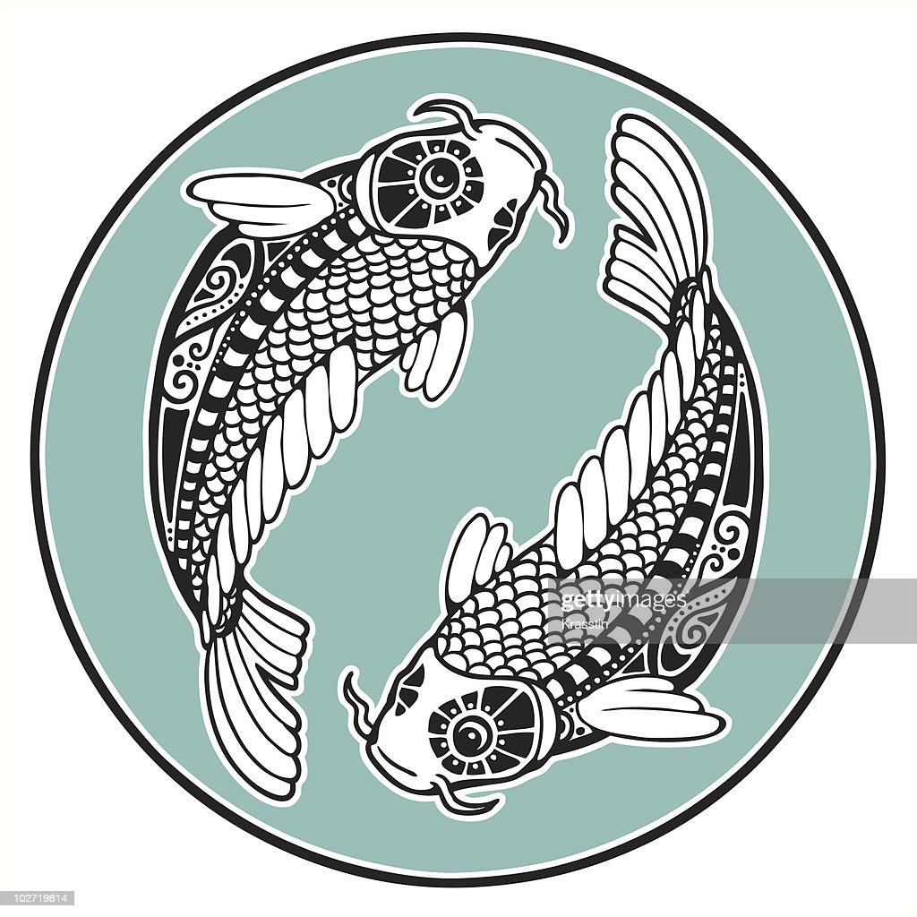Two koi as a zodiac sign of Pisces
