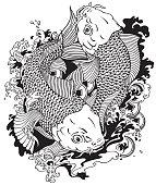 two koi fishes black white