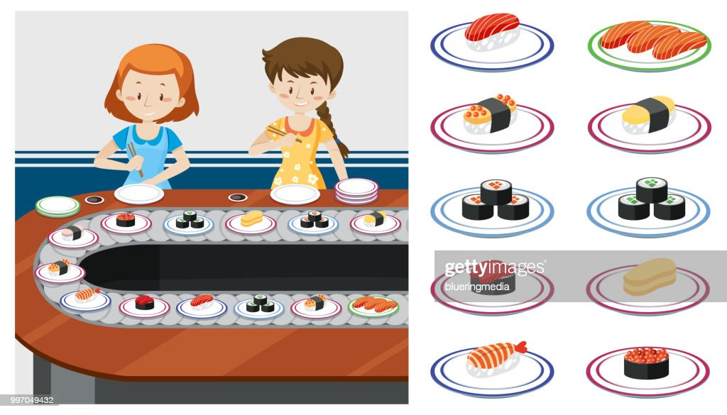 Two ladys at a Sushi train