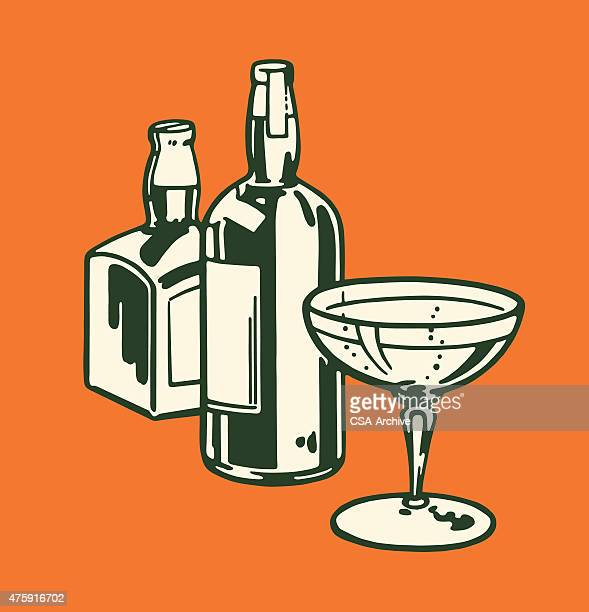 two liquor bottles and cocktail glass - stag night stock illustrations, clip art, cartoons, & icons