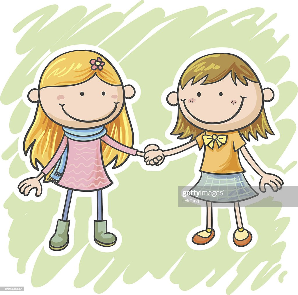 Picture For Brother Sister: Two Little Girls Are Holding Hands Vector Art