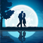 Two lovers on the moon background
