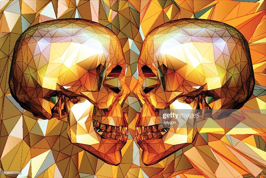 Two low poly skull facing on polygonal BG