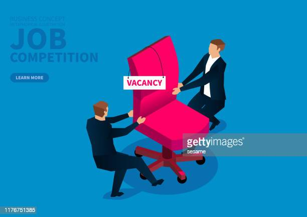 two male businessmen compete for a vacant chair - office fight stock illustrations, clip art, cartoons, & icons